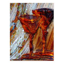 Wine Glasses Abstract Design Texture Postcard