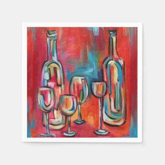 Wine Glasses and Bottles Paper Napkin