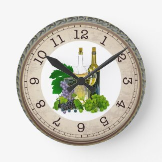 Wine Glasses and Bottles / Time for Wine Round Clock