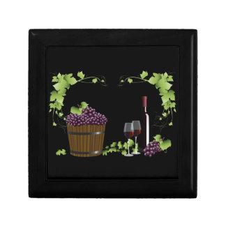 Wine glasses and wine barrel jewelry box