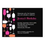 "Wine Glasses Birthday Party Invitation 5"" X 7"" Invitation Card"