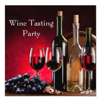 Wine Glasses Bottles Wine Tasting Party Card