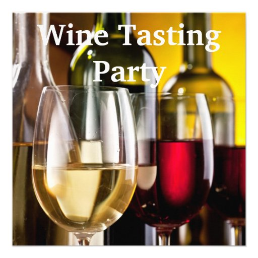 Wine Glasses Bottles Wine Tasting Party Personalized Invites