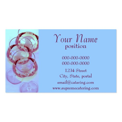 Wine glasses catering business card template zazzle for Catering business cards samples