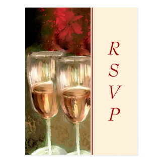 Wine Glasses Digital Painting RSVP Postcard