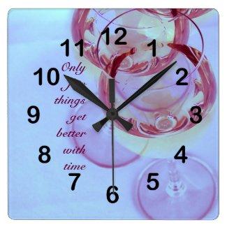 Wine glasses home decor clock
