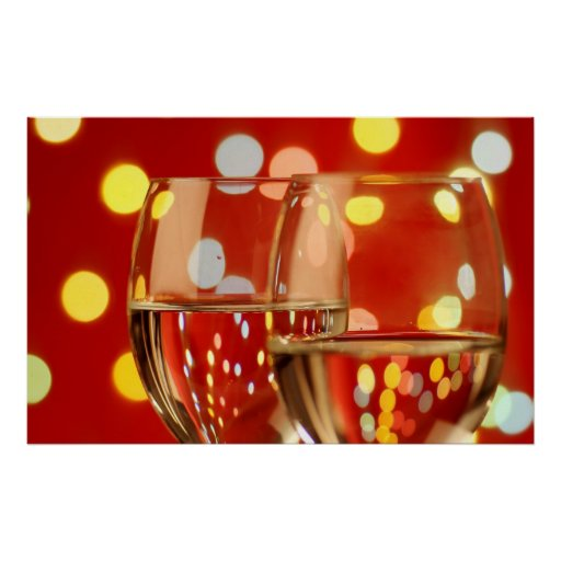 wine glasses in a romantic setting poster