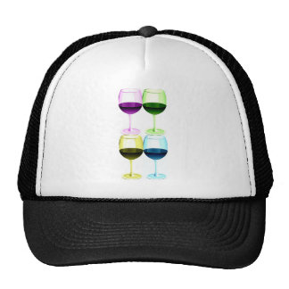 WINE GLASSES PASTEL COLLAGE PRINT TRUCKER HATS