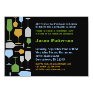 Wine Glasses Retirement Party Invitation