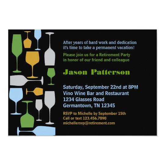 Wine Glasses Retirement Party Invitation – Invitation Retirement Party