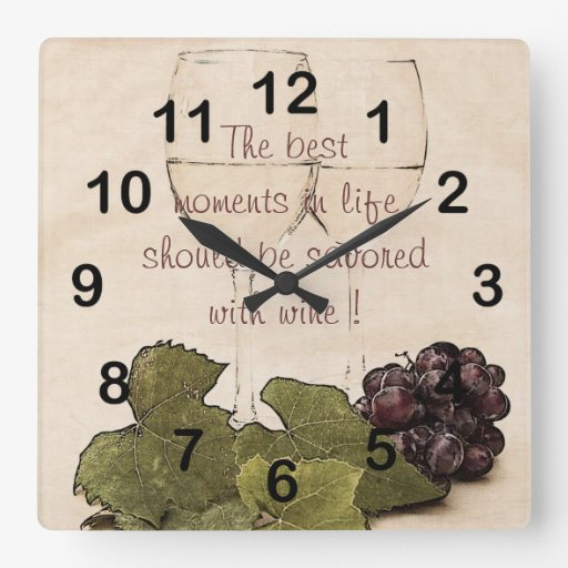 wine glasses with grapes kitchen clock