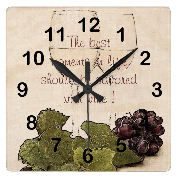 Wine Glasses With Grapes Kitchen Clock Zazzle Com