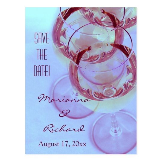 wine glasses with red wine postcard