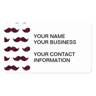 Wine Glitter Mustache Pattern Printed Business Card