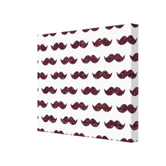 Wine Glitter Mustache Pattern Printed Canvas Prints
