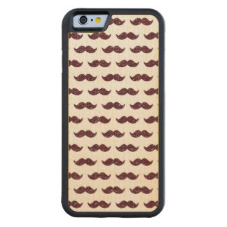 Wine Glitter Mustache Pattern Printed Carved Maple iPhone 6 Bumper Case