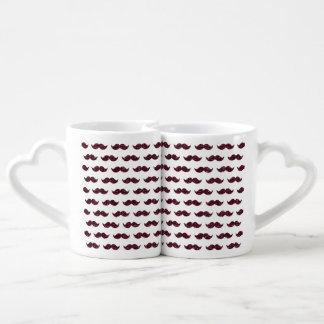 Wine Glitter Mustache Pattern Printed Coffee Mug Set