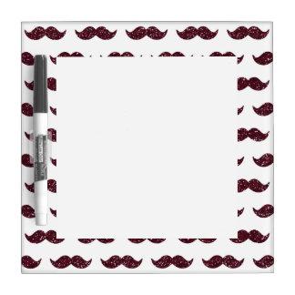 Wine Glitter Mustache Pattern Printed Dry Erase White Board