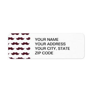 Wine Glitter Mustache Pattern Printed Label
