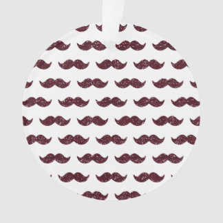 Wine Glitter Mustache Pattern Printed Ornament