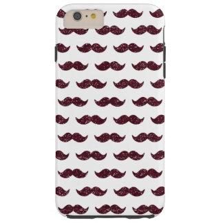 Wine Glitter Mustache Pattern Printed Tough iPhone 6 Plus Case