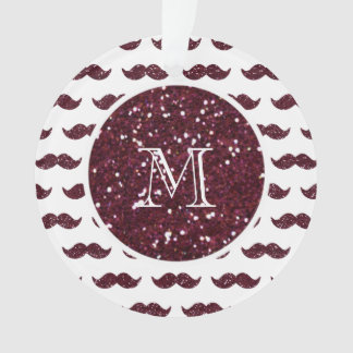 Wine Glitter Mustache Pattern Your Monogram