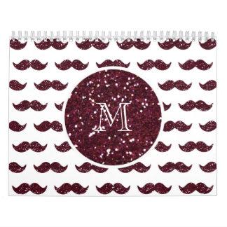 Wine Glitter Mustache Pattern Your Monogram Wall Calendar