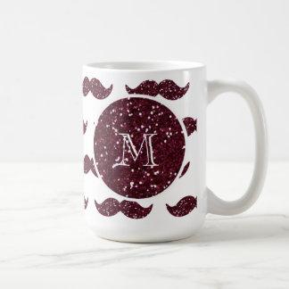 Wine Glitter Mustache Pattern Your Monogram Coffee Mug