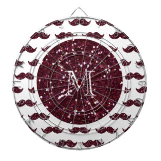 Wine Glitter Mustache Pattern Your Monogram Dart Boards