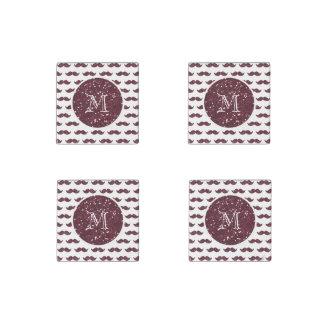 Wine Glitter Mustache Pattern Your Monogram Stone Magnet
