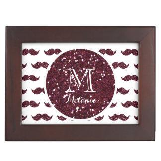 Wine Glitter Mustache Pattern Your Monogram Memory Boxes