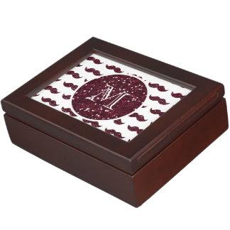 Wine Glitter Mustache Pattern Your Monogram Keepsake Box