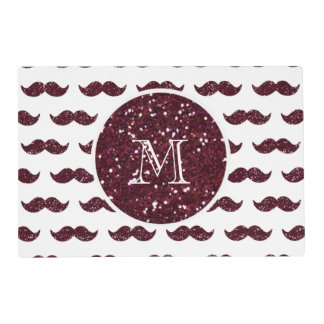 Wine Glitter Mustache Pattern Your Monogram Placemat