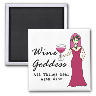 "Wine Goddess ""All Thing Heal With Wine"" 2 Inch Square Magnet"