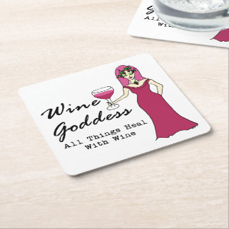 """Wine Goddess """"All Things Heal With Wine"""" Square Paper Coaster"""