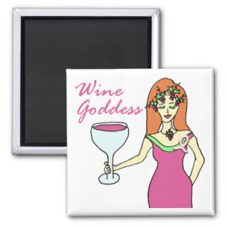 Wine Goddess Pink Ribbon Breast Cancer Awareness 2 Inch Square Magnet