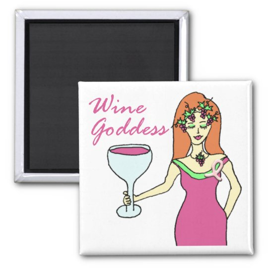 Wine Goddess Pink Ribbon Breast Cancer Awareness Magnet