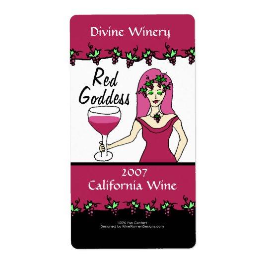 Wine Goddess Red Goddess Custom Faux Wine Labels