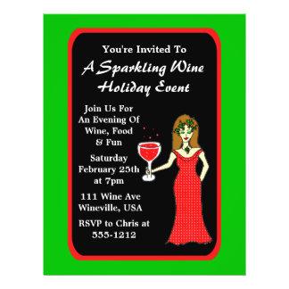 "Wine Goddess Sparkling Wine Holiday Event 8.5"" X 11"" Flyer"