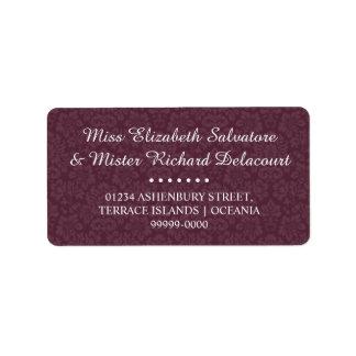 Wine Gothic Victorian Damas Wedding Address Labels