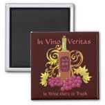 Wine & Grapes 2 Inch Square Magnet