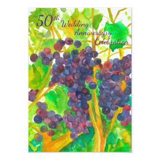 Wine Grapes 50th Wedding Anniversary Party Invite