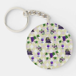 Wine, Grapes, and Jelly Keychain