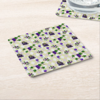 Wine, Grapes, and Jelly Square Paper Coaster
