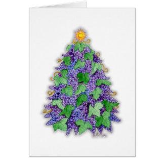 Wine Grapes Christmas Tree Greeting Card