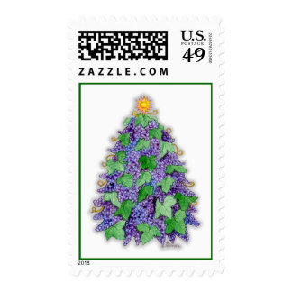 Wine Grapes Christmas Tree Stamp