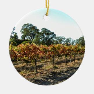 Wine Grapes in Mendocino County, California Ceramic Ornament