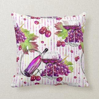 Wine & Grapes purple green white stripes grapevine Throw Pillow