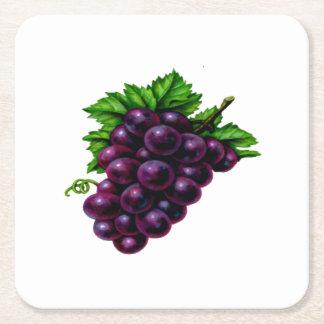Wine Grapes Purple Square Paper Coaster