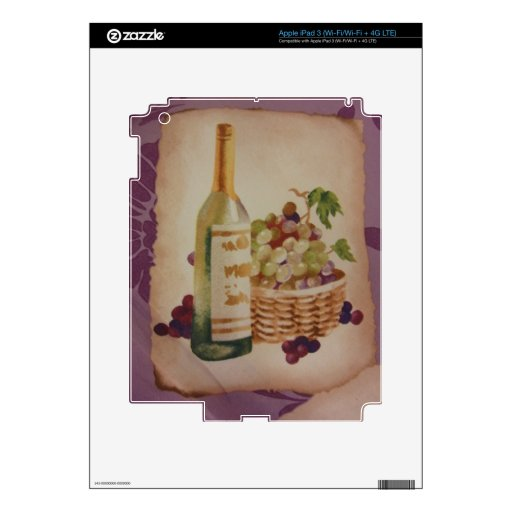 Wine & Grapes Skin For iPad 3